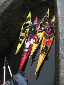 Sea kayaks in the locks image