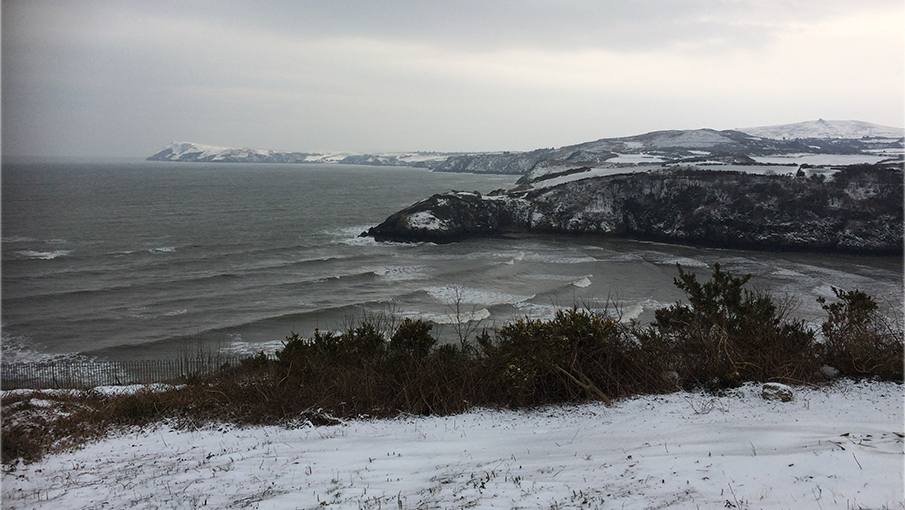 Lower Fishguard and Dinas Head in the snow image